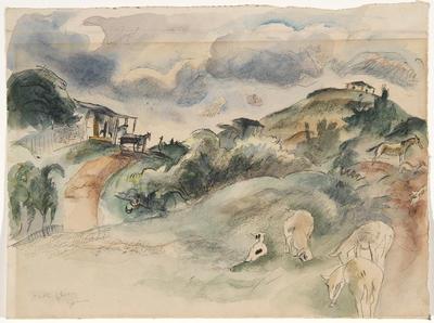 Hillside from Caribbean Sketchbook; Jules Pascin; American, born Bulgaria, 1885-1930; 1950.110