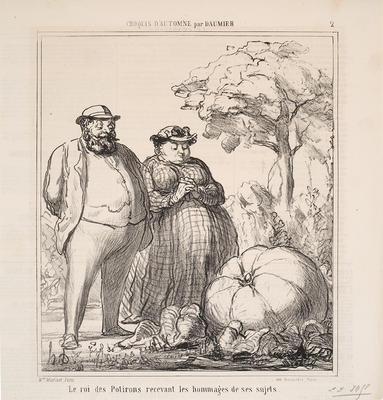 Le Roi des Potirons Recevant les Hommages de ses Sujets.  (The King of Pumpkins Receiving the Homage of His Subjects.) from Croquis d'Automne par Daumier in Le Charivari; Honoré Daumier; French, 1808-1879; 1991.18