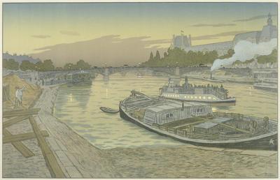 Le Pont des Saints - Peres et le Louvre from Les Paysages Parisiens; Henri Rivière; French, 1864-1951; 2001.19.6