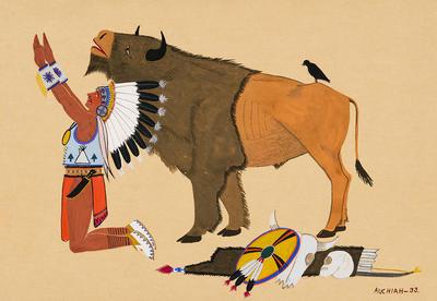 Artist: James Auchiah, Native American, Kiowa, 1906-1974