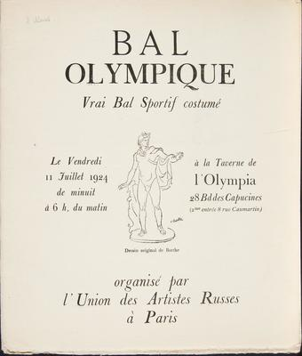 Program for Bal Olympique: Vrai Bal Sportif Costume (True Athletic Costume Ball)