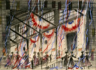 Scene design for Home Again, Act I, scene 2, in Fiorello; Jean Eckart; American, 1921-1994; William Eckart; American, 1920-2000; TL1999.70