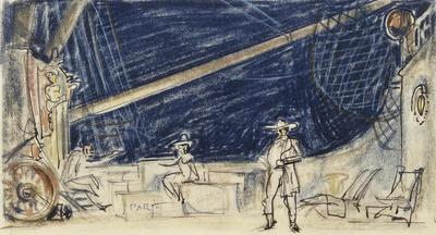 Scene design for Cattle Boat in Annie Get Your Gun; Jo Mielziner; American, 1901-1976; TL1999.171