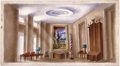Scene design for Dean Acheson's Office in Call Me Madam; Raoul Pène Du Bois; American, 1912-1985; TL1999.225