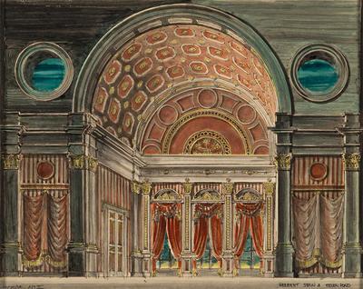 Scene design for Scarpia's Rooms in the Palazzo Farnese, Act II, in Tosca
