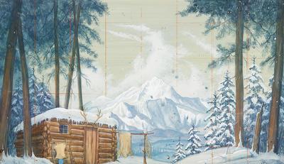 Scene design for Trapper's Cabin in Seven Brides for Seven Brothers; Robert Randolph; American, 1926-2003; TL1999.278