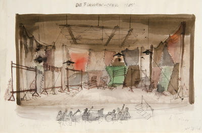 Scene design for Peachum's Shop in Die Dreigroschenoper (The Threepenny Opera); Wolfgang Roth; American, born Germany, 1910-1988; TL1999.281.3