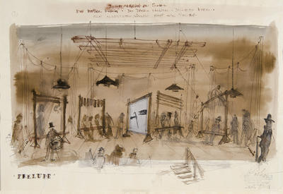 Scene design for Market in Soho, Prelude, in Die Dreigroschenoper (The Threepenny Opera); Wolfgang Roth; American, born Germany, 1910-1988; TL1999.281.2