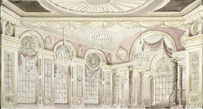 Scene design for Ballroom in My Fair Lady; Oliver Smith; American, 1918-1994; TL1999.305