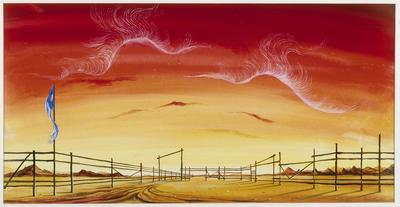 Backdrop design for scene 1 in the revival of Rodeo