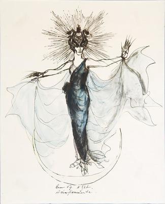 Costume design for Queen of the Night in The Magic Flute; Rouben TerArutunian; American, born Russia (now Georgia), 1920-1992; TL1999.349.1