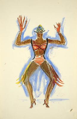 Costume design for a dancer in Egyptian Ballet in Cabin in the Sky
