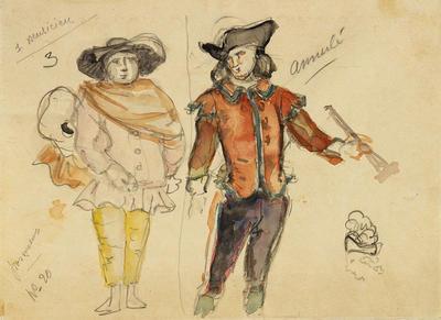 Costume designs for two musicians in Cosi fan Tutte