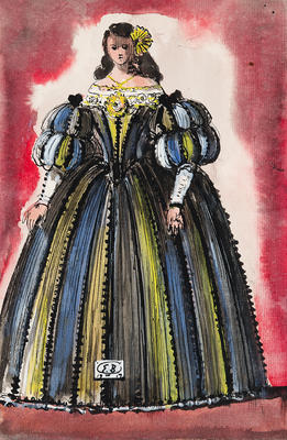 Costume design for a Courtesan, Act II, in Don Giovanni