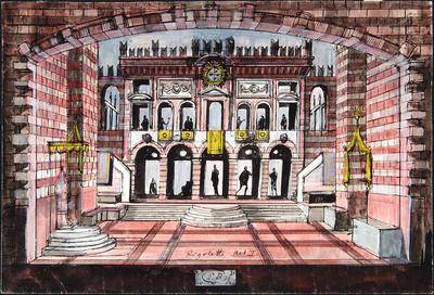 Scene design for Act I in Rigoletto