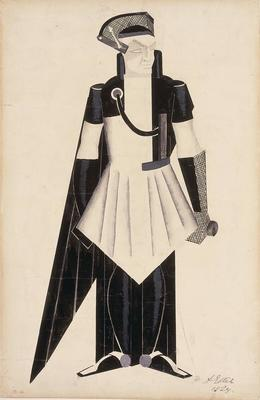 Costume design for Chief of Atomic Power in Aelita: Queen of Mars; Alexandra Exter; French, born Russia (now Poland), 1882-1949; TL2001.57