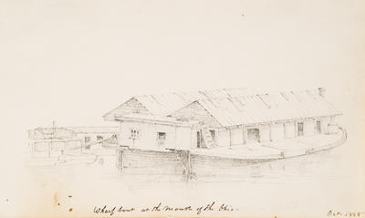Wharf Boat at the Mouth of the Ohio River, October 1848, from Sketchbook