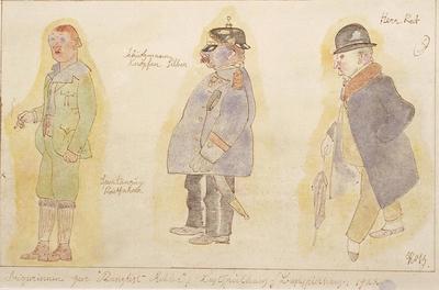 Costume designs for the Bicyclist, the Rifleman, and Herr Rat in Kanzlist Krehler (Office Clerk Krehler); George Grosz; American, born Germany, 1893-1959; TL2001.77